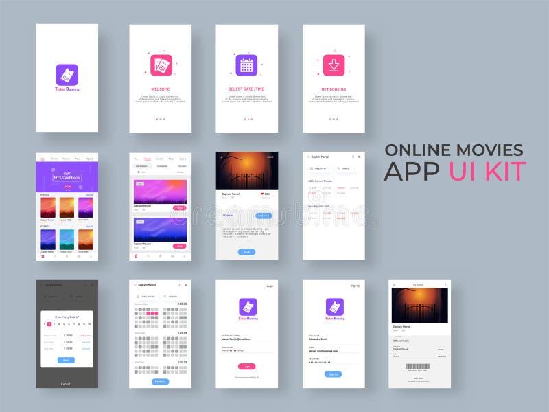 Den online-satsen för filmappen UI för svars- mobil app eller website med den olika GUI-orienteringen inklusive inloggning, skapa stock illustrationer