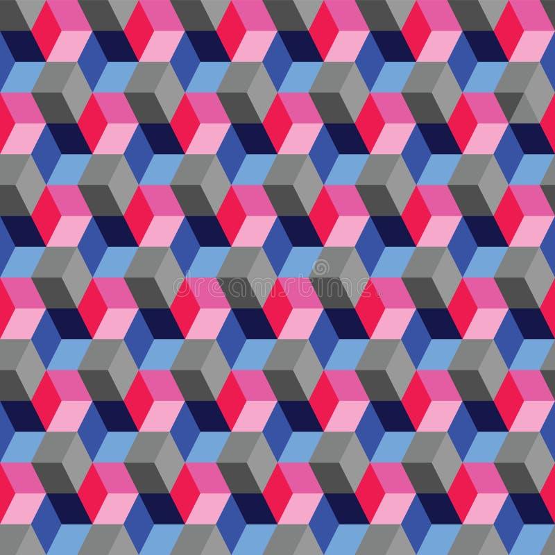 Den optiska illusionen skära i tärningar den geometriska sömlösa repetitionmodellen stock illustrationer