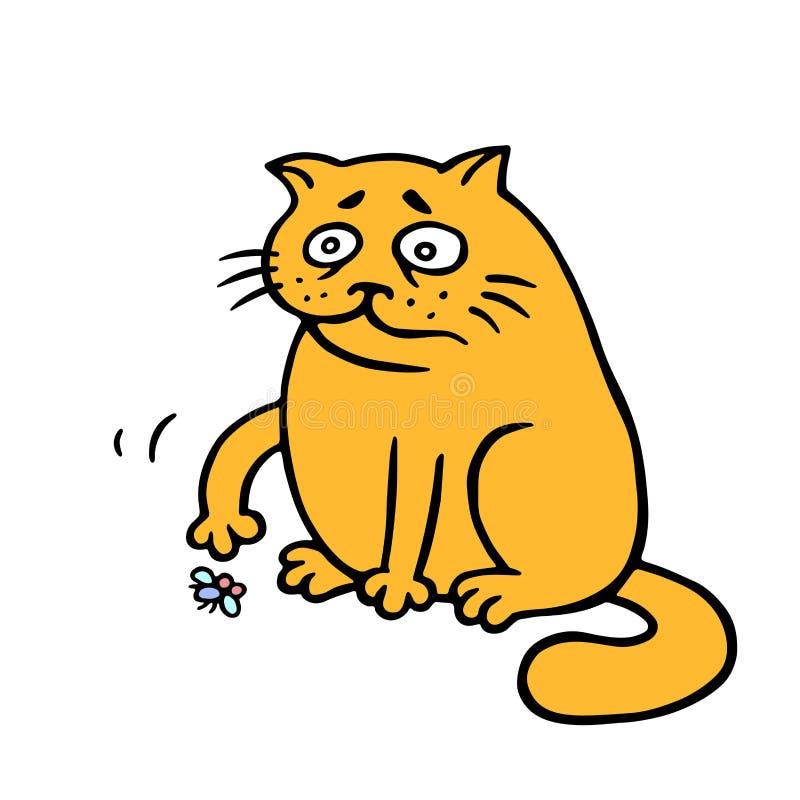 Den orange feta katten är ensam En död fluga på golvet också vektor för coreldrawillustration royaltyfri illustrationer