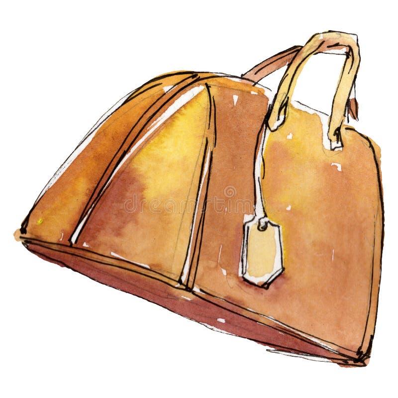 Den orange handväskan skissar glamourillustrationen i isolerad beståndsdel för vattenfärg en stil Akvarellbakgrundsuppsättning royaltyfri illustrationer