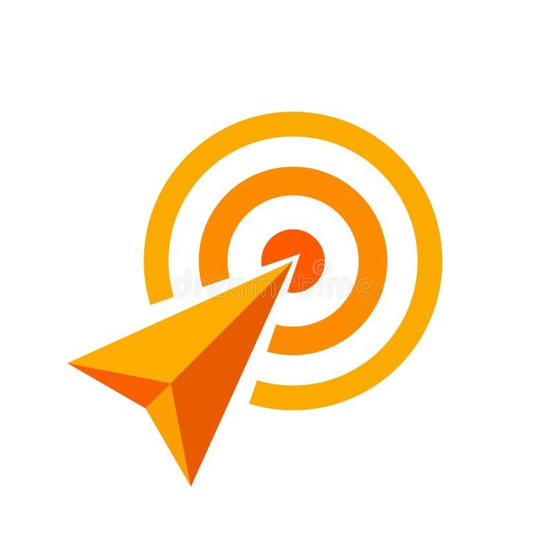Den orange pilen av målsymbolet, pilen som det orange begreppet är, symboliserar den framgång, orange eller gul pillogoen för mål vektor illustrationer