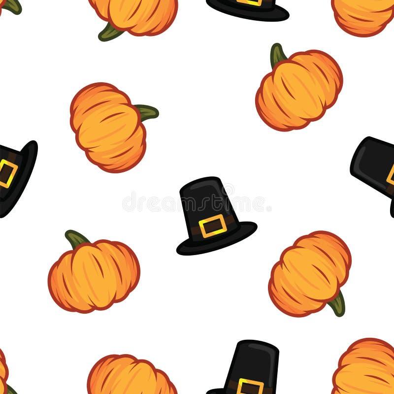Den orange pumpa- och svarthäxahatten halloween mönstrar bakgrund Pumpa- och häxahattmodell för lyckliga halloween royaltyfri illustrationer