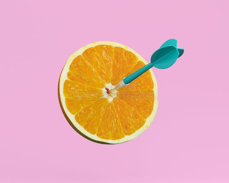 Den orange skivan, frukt med det runda målet markerade, och blått kasta sig på royaltyfria bilder