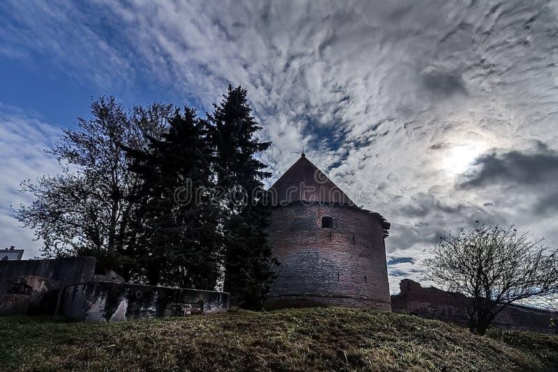 Den Oreshek fästningen är en forntida rysk fästning på mutterön på källan av den Neva floden royaltyfri fotografi