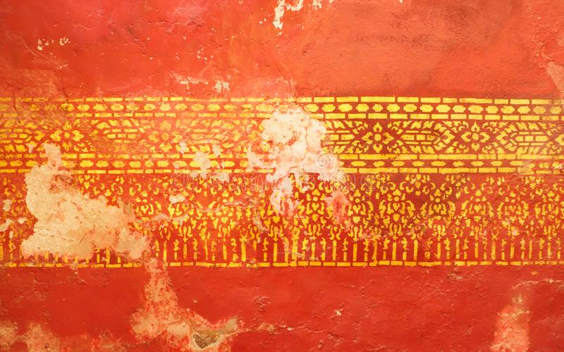 Den original- formen var förstörd eller bruten i några delar på väggarna av den gamla buddistiska templet royaltyfri illustrationer