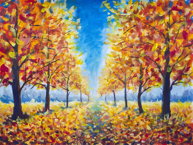 Den original- höstgångallén för olje- målning, mörka träd för orange guldguling i höst parkerar, den guld- höstgångbanan, orange  royaltyfria foton