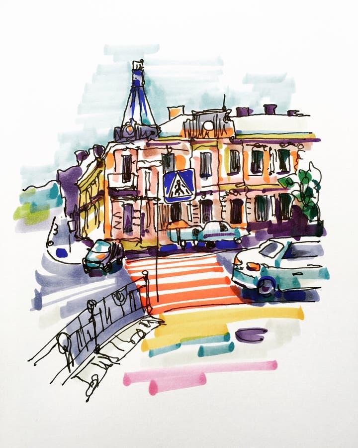 Den original- handattraktionmarkören skissar av Kyiv byggnadslandskap royaltyfri illustrationer