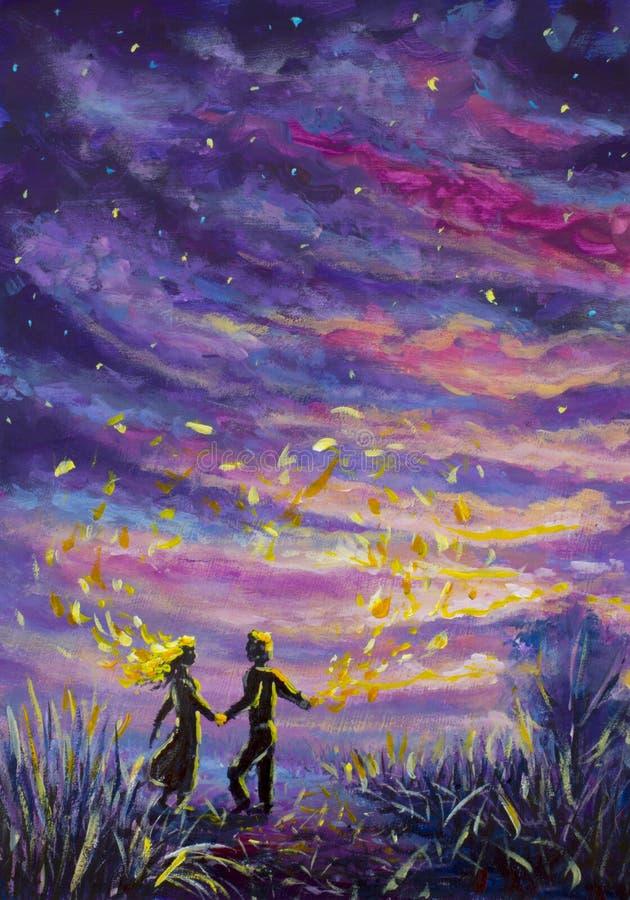 Den original- den målningabstrakt begreppmannen och kvinnan dansar på solnedgång Natt natur, landskap, purpurfärgad stjärnklar hi royaltyfri bild