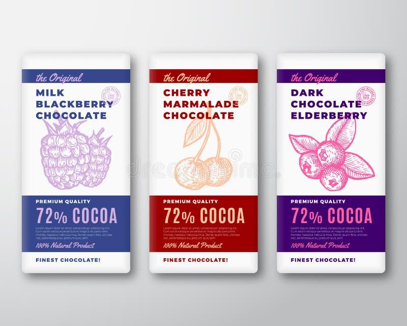 Den original- mest fina uppsättningen för etiketter för förpackande design för chokladabstrakt begreppvektor Modern typografi och stock illustrationer