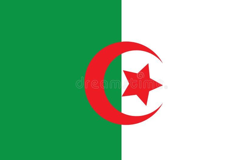 Den original- och enkla Algeriet flaggan isolerade vektorn i representant stock illustrationer