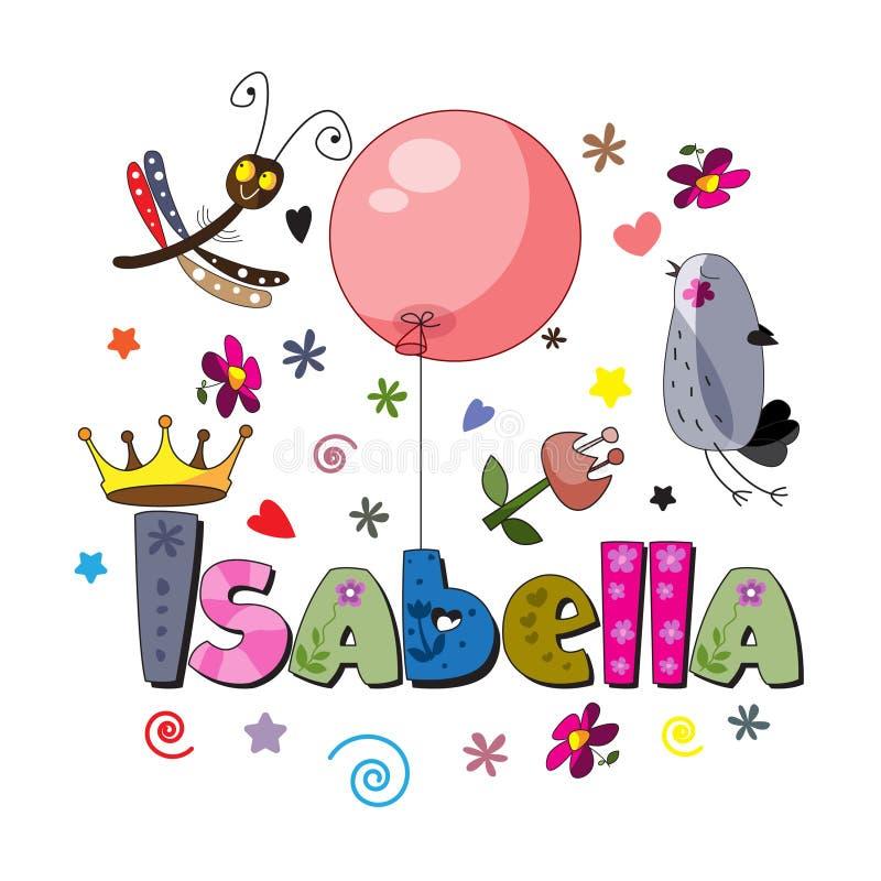Den original- stavningen av ordet Isabella vektor illustrationer