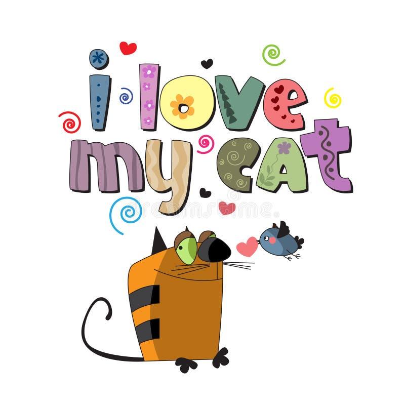 Den original- stavningen av uttrycket älskar jag min katt stock illustrationer