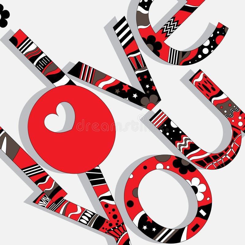Den original- stavningen av uttrycket mönstrade bokstäverna älskar jag dig royaltyfri illustrationer