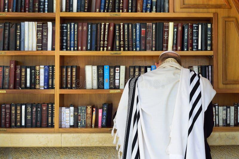 Den ortodoxa juden ber nära böckerna av Torahen royaltyfri bild