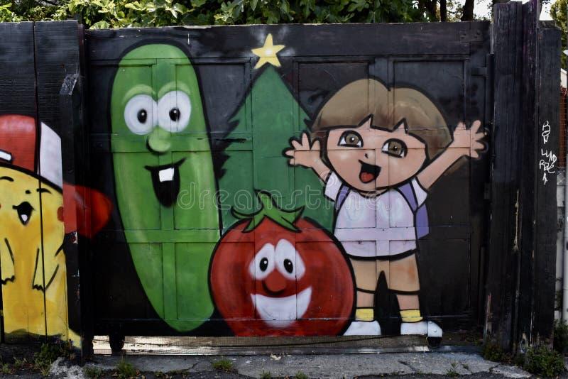 Den Osaoe grändväggmålningen arbetar San Francisco, 5 arkivbild