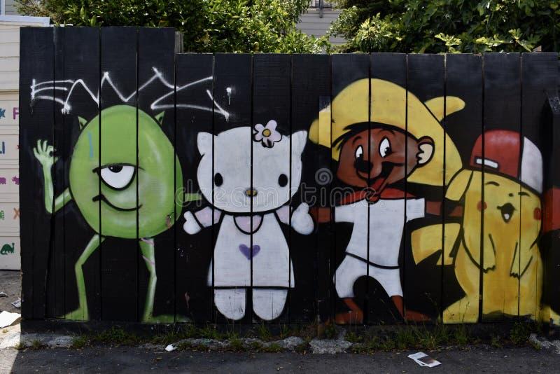 Den Osaoe grändväggmålningen arbetar San Francisco, 4 arkivbild