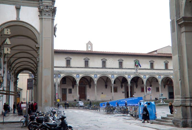 Den Ospedale deglien Innocenti i Florence arkivfoton