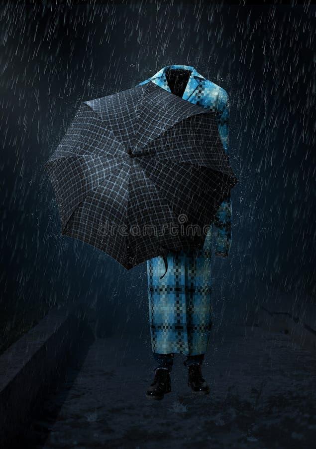 Den osynliga mannen går i hällregnet royaltyfri foto
