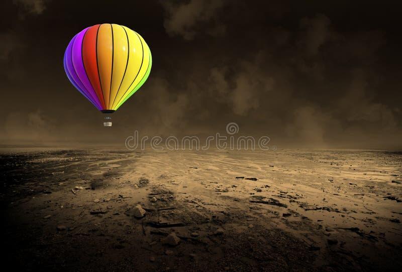 Den overkliga ballongen för varm luft, ödelägger öknen arkivfoton
