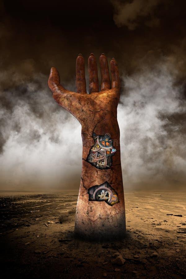 Den overkliga robothanden, ödelägger öknen stock illustrationer