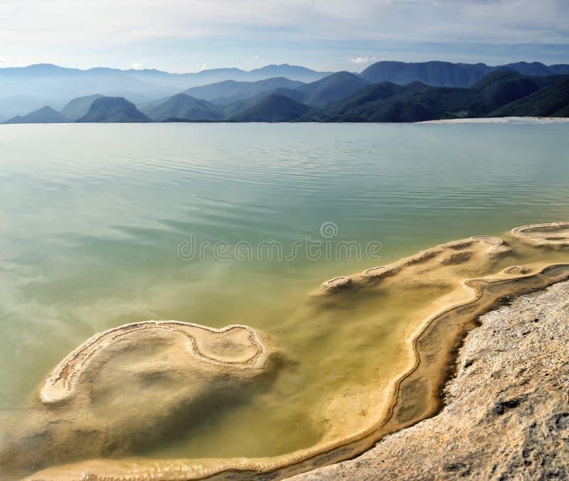 Den overkliga sikten för landskapmorgonberget med mineraliska vårar hastar arkivfoto