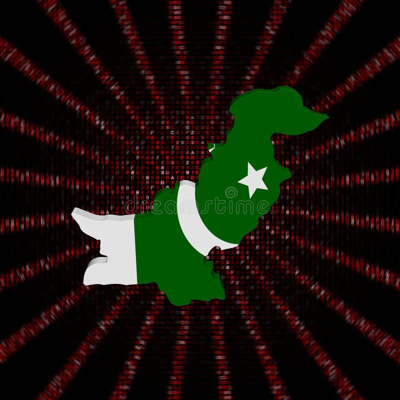 Den Pakistan översiktsflaggan på rött förhäxer kodbristningsillustrationen stock illustrationer