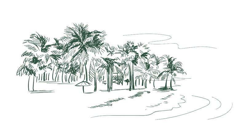 Den Palm Beach vektorn skissar landskaplinjen illustrationhorisont stock illustrationer