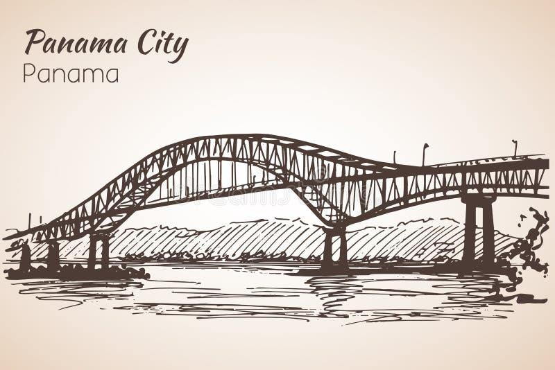Den Panama City bron skissar panama vektor illustrationer