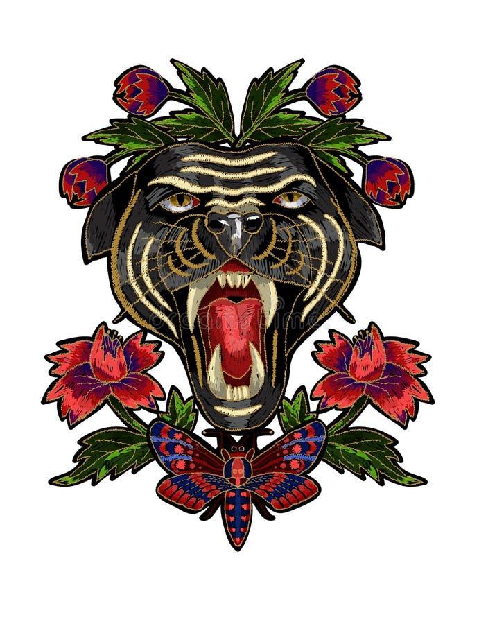 Den panter-, fjärils- och blommabroderilappen för textil planlägger royaltyfri illustrationer