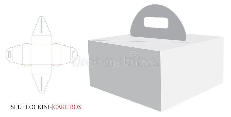 Den pappers- asken med handtagmallen, vektor med stansat/laser klippte lager Leveranskakaask, själv som låser asken royaltyfri illustrationer