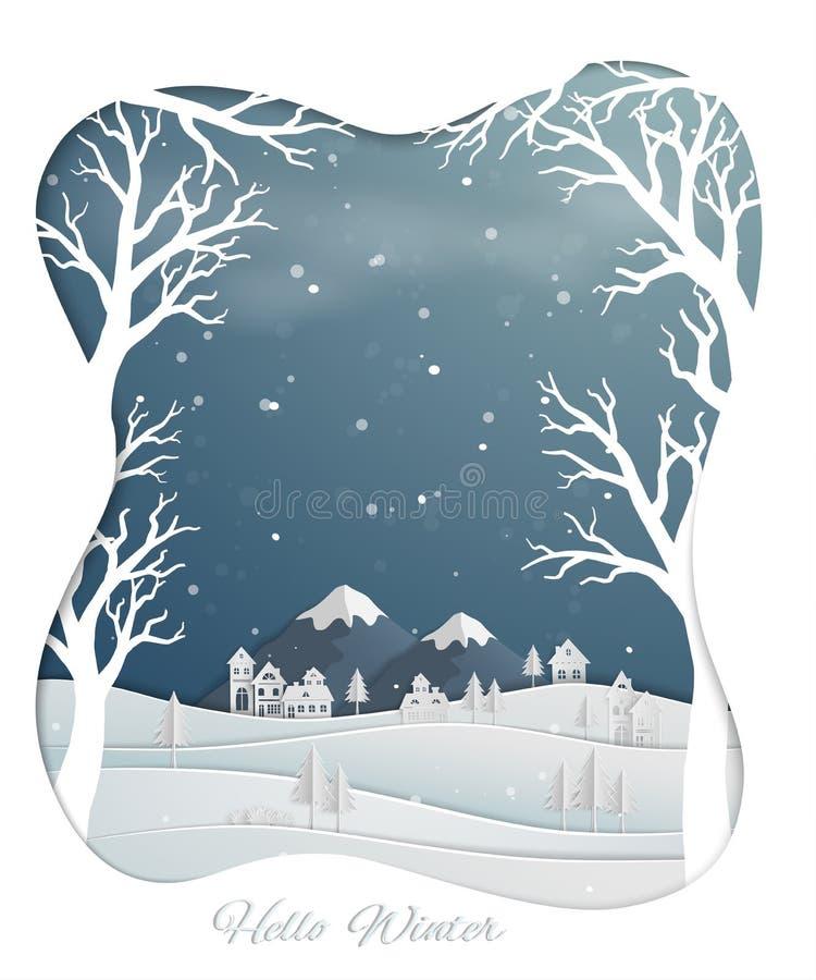 Den pappers- konstdesignen med bygd och snö täckte kullar i vinter kryddar royaltyfri illustrationer
