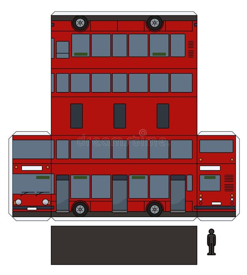 Den pappers- modellen av en röd dubbel däckare vektor illustrationer
