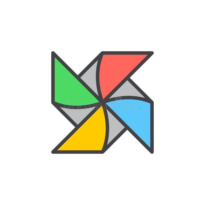 Den pappers- väderkvarnlilla solen fyllde översiktssymbolen, linjen vektortecknet, linjär färgrik pictogram stock illustrationer