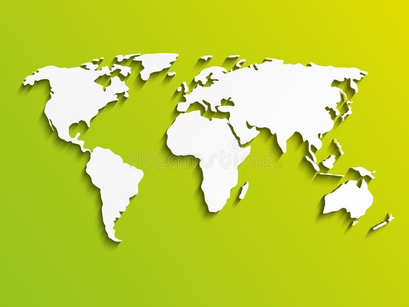 Den pappers- världen kartlägger stock illustrationer