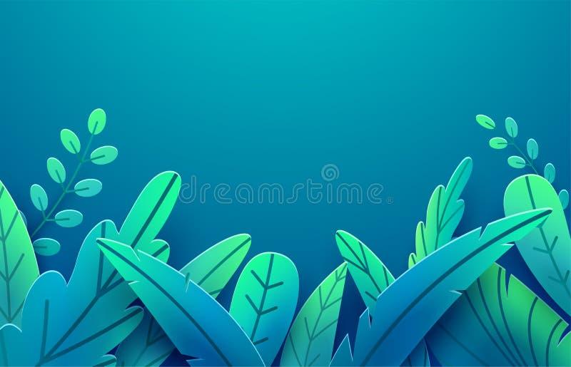 Den pappers- våren lämnar vektorgränsen Pappers- klippt stil som isoleras på mörk bakgrund Illustration för konst för blom- blad  stock illustrationer