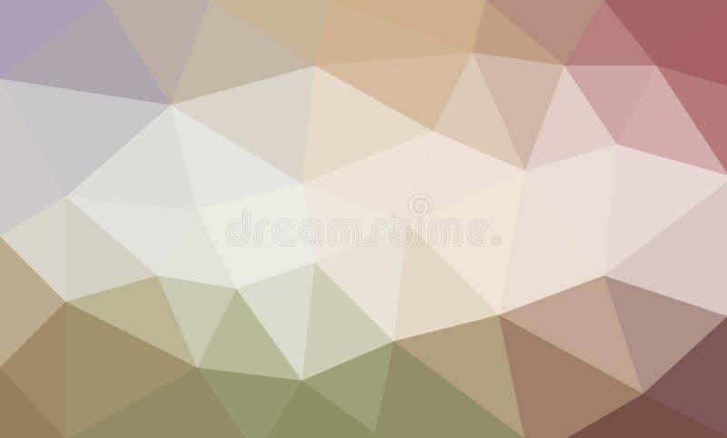 Den pastellfärgade låga poly bakgrundsdesignen i beigagräsplan och rosa färger färgar, triangeln formade modeller royaltyfri illustrationer