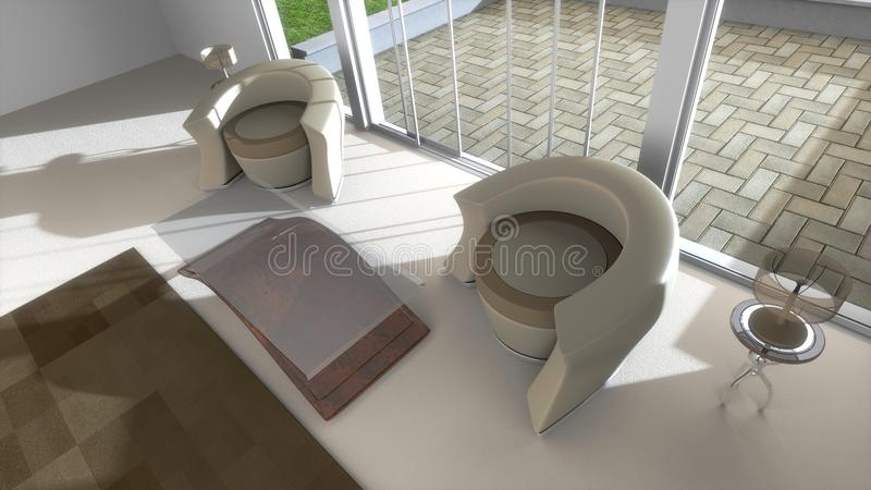 Download Den with Patio stock illustration. Image of sunlit, coffee - 18119821