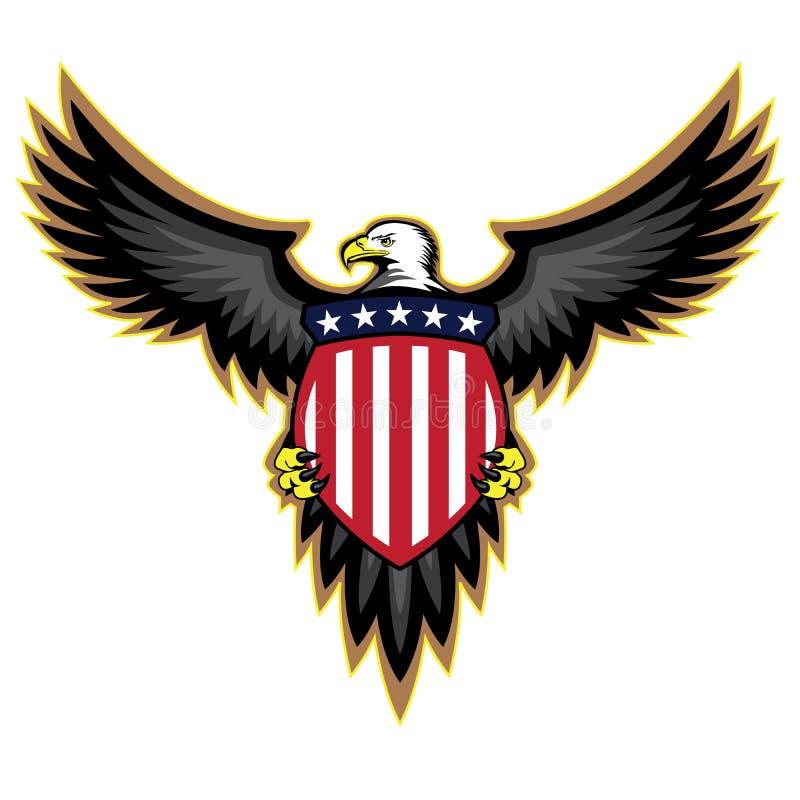 Den patriotiska amerikanen Eagle, vingar fördelade och att rymma skölden royaltyfri illustrationer