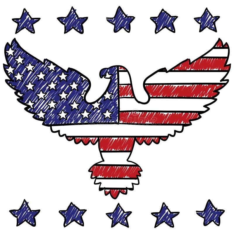 Den patriotiska amerikanska örnen skissar stock illustrationer