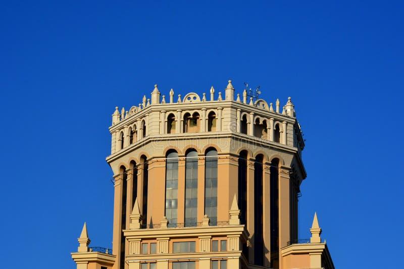 Den Paveletskaya för det affärscentrumPaveletskaya tornet plazaen, har byggts på den Paveletskaya fyrkanten i 2003 fotografering för bildbyråer