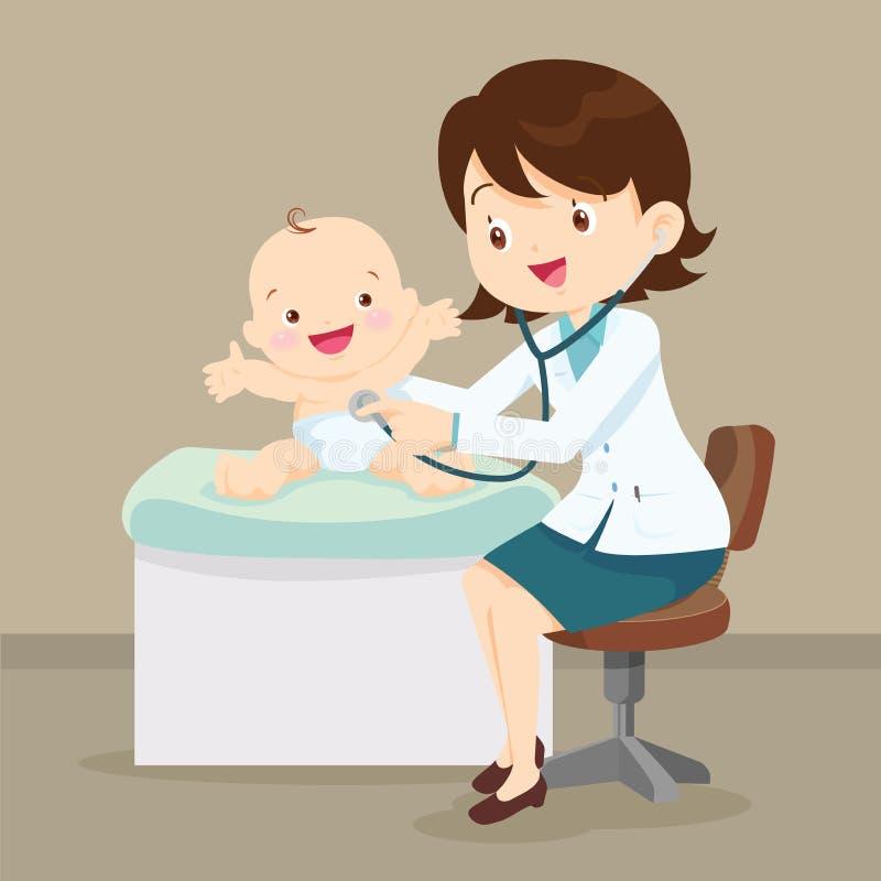 Den pediatriska doktorn som undersöker behandla som ett barn lite royaltyfri illustrationer