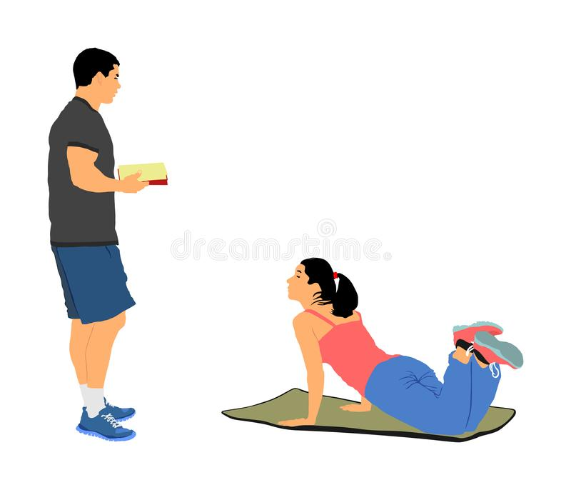 Den personliga instruktören motiverar den isolerade unga kvinnan Färdig damövning med yrkesmässig hjälp Förlorande viktrådgivning royaltyfri illustrationer
