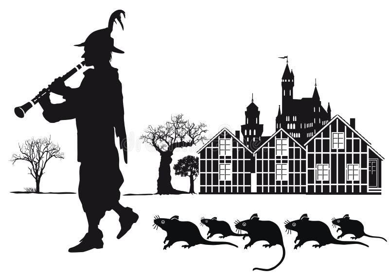 Den Pied pipblåsaren av den Hamelin staden med tjaller royaltyfri illustrationer
