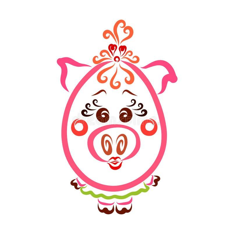 Den piggy roliga ovala flickan, innegrej behandla som ett barn, gulliga djur stock illustrationer