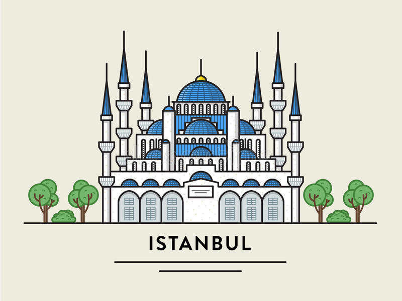 Den plana designillustrationen av Istanbul Turkiet specificerade konturn fotografering för bildbyråer