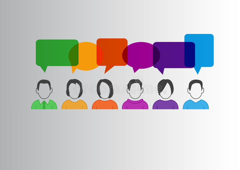 Den plana designillustrationen av kommunikationen mellan olikt folk med färgrikt anförande bubblar royaltyfri illustrationer