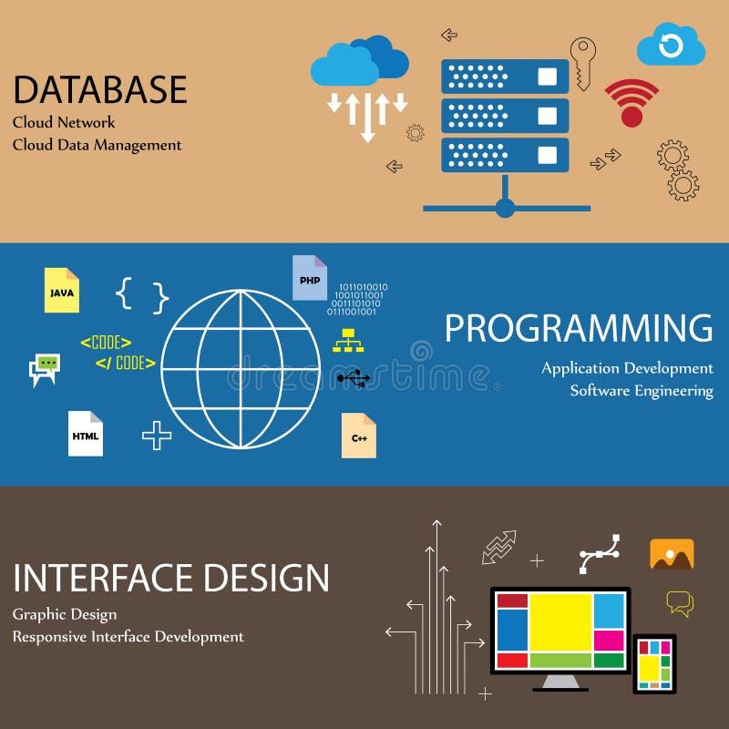 Den plana designlinjen symboler av begrepp som databasmolnet knyter kontakt royaltyfri illustrationer