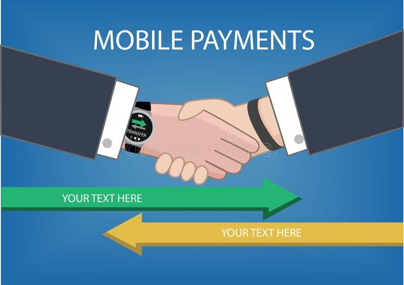 Den plana designstilillustrationen av modernt ilar klockan med att bearbeta av mobila betalningar från en apparat till andra royaltyfri illustrationer