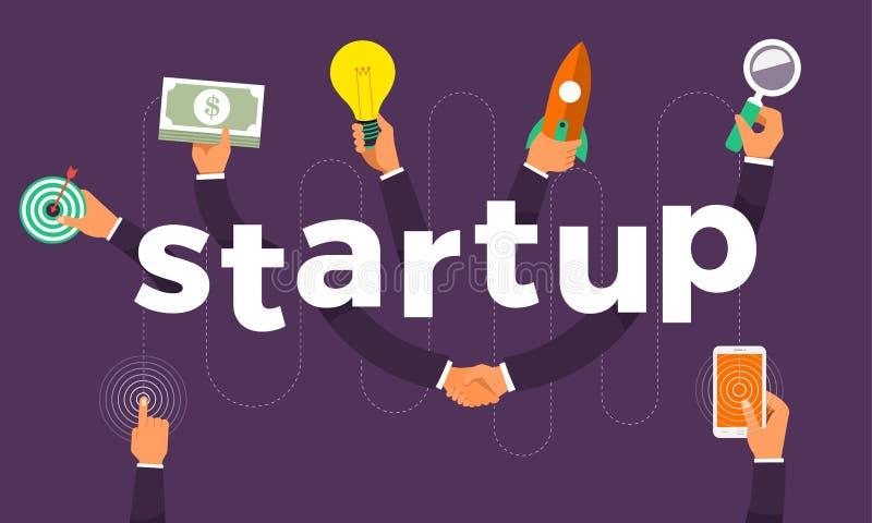Den plana handen för designbegreppet skapar den startup symbolsymbolen och ord V stock illustrationer
