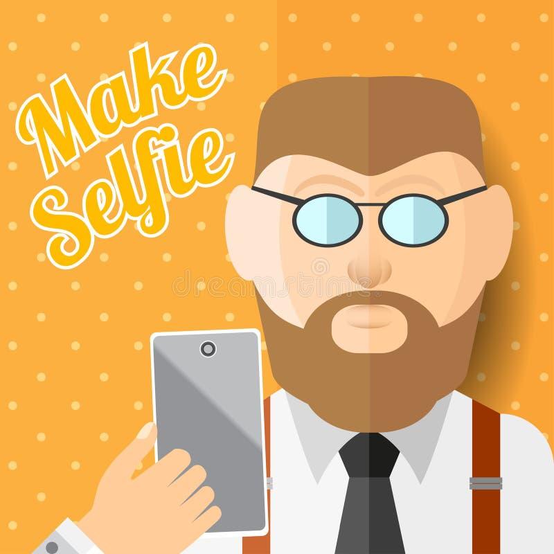 Den plana hipsteren för illustrationskäggmannen med smartphonetelefonen eller grejen gör fotoet av honom stock illustrationer